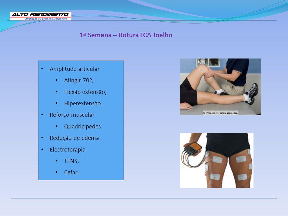 1ª Semana – Rotura LCA Joelho Amplitude articular Atingir 70º, Flexão extensão, Hiperextensão. Reforço muscular Quadricipedes Redução de edema Electro