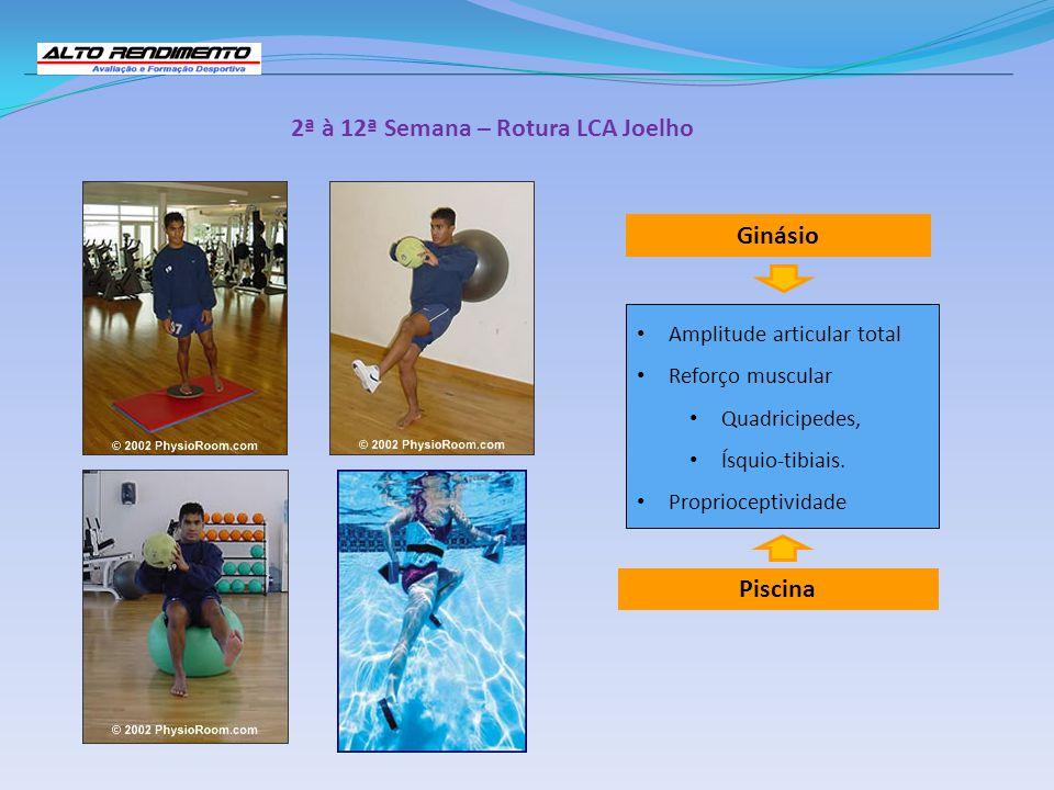 2ª à 12ª Semana – Rotura LCA Joelho Piscina Ginásio Amplitude articular total Reforço muscular Quadricipedes, Ísquio-tibiais. Proprioceptividade