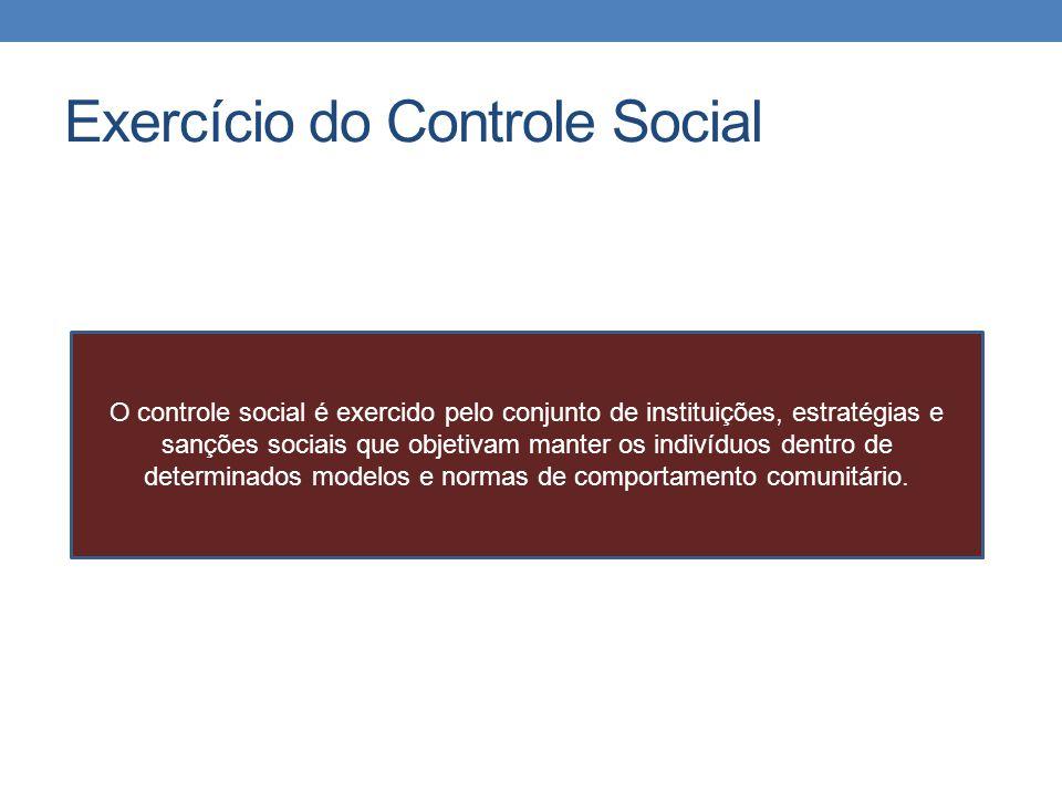 Exercício do Controle Social O controle social é exercido pelo conjunto de instituições, estratégias e sanções sociais que objetivam manter os indivíd