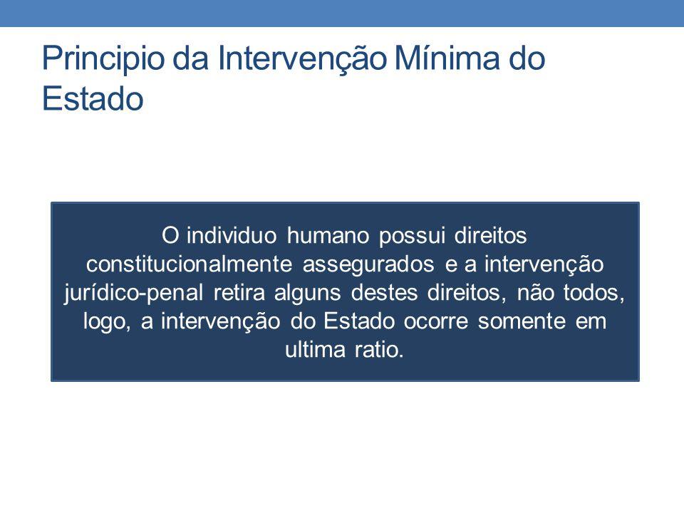 Principio da Intervenção Mínima do Estado O individuo humano possui direitos constitucionalmente assegurados e a intervenção jurídico-penal retira alg