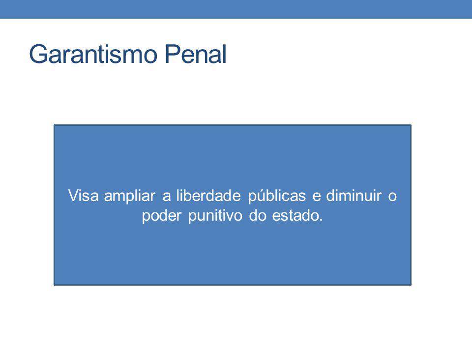 Garantismo Penal Visa ampliar a liberdade públicas e diminuir o poder punitivo do estado.