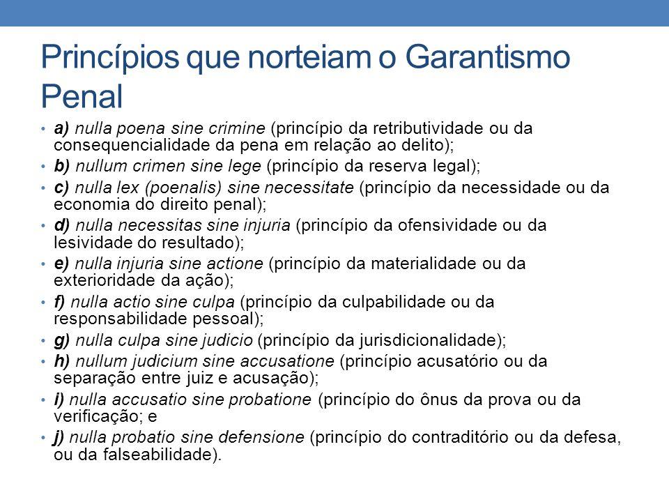 Princípios que norteiam o Garantismo Penal a) nulla poena sine crimine (princípio da retributividade ou da consequencialidade da pena em relação ao de