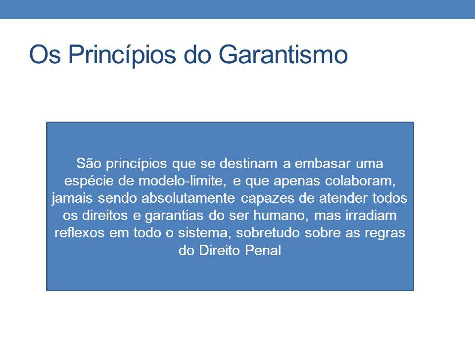 Os Princípios do Garantismo São princípios que se destinam a embasar uma espécie de modelo-limite, e que apenas colaboram, jamais sendo absolutamente