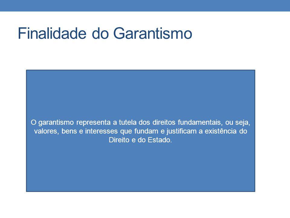 Finalidade do Garantismo O garantismo representa a tutela dos direitos fundamentais, ou seja, valores, bens e interesses que fundam e justificam a exi