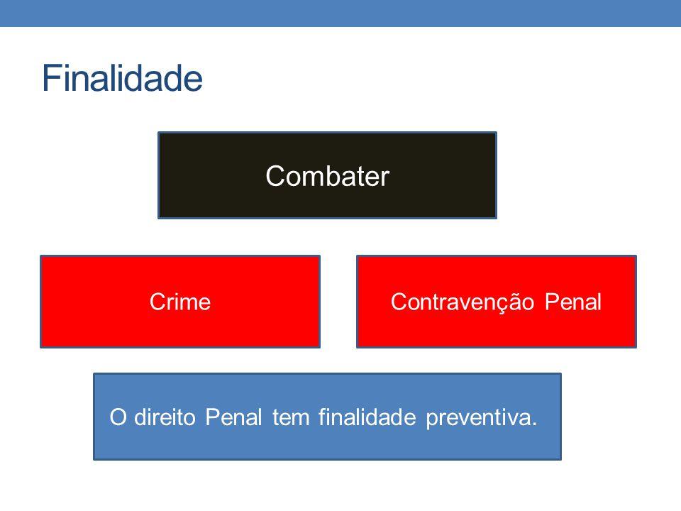 Finalidade Combater CrimeContravenção Penal O direito Penal tem finalidade preventiva.