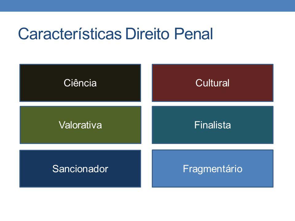 Características Direito Penal CiênciaCultural ValorativaFinalista Sancionador Fragmentário