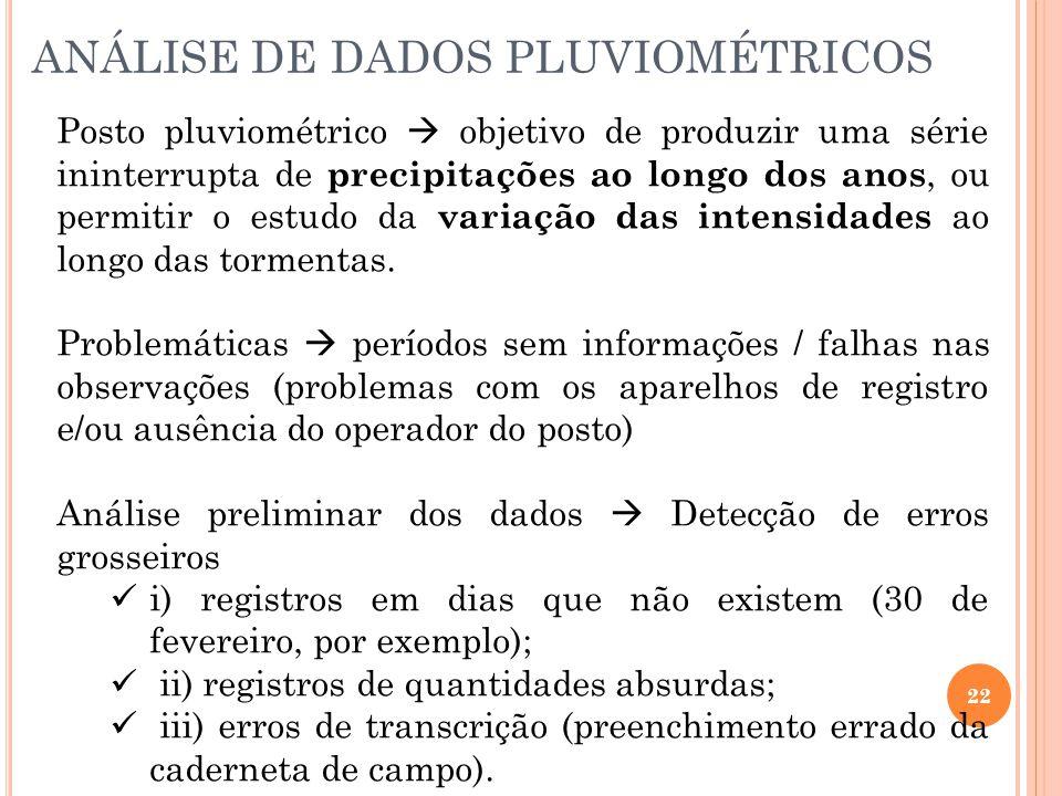 ANÁLISE DE DADOS PLUVIOMÉTRICOS 22 Posto pluviométrico  objetivo de produzir uma série ininterrupta de precipitações ao longo dos anos, ou permitir o