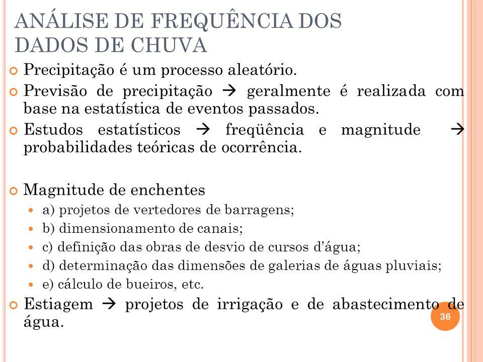 ANÁLISE DE FREQUÊNCIA DOS DADOS DE CHUVA Precipitação é um processo aleatório.