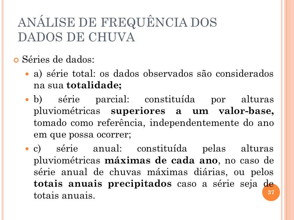 Séries de dados: a) série total: os dados observados são considerados na sua totalidade; b) série parcial: constituída por alturas pluviométricas supe
