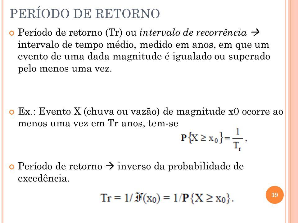PERÍODO DE RETORNO Período de retorno (Tr) ou intervalo de recorrência  intervalo de tempo médio, medido em anos, em que um evento de uma dada magnitude é igualado ou superado pelo menos uma vez.
