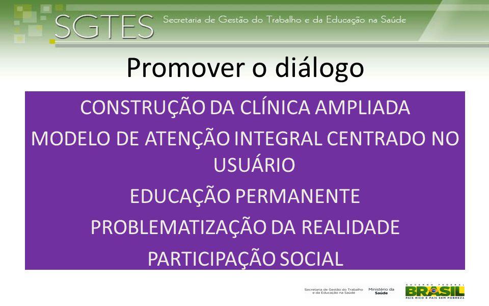 Promover o diálogo CONSTRUÇÃO DA CLÍNICA AMPLIADA MODELO DE ATENÇÃO INTEGRAL CENTRADO NO USUÁRIO EDUCAÇÃO PERMANENTE PROBLEMATIZAÇÃO DA REALIDADE PART