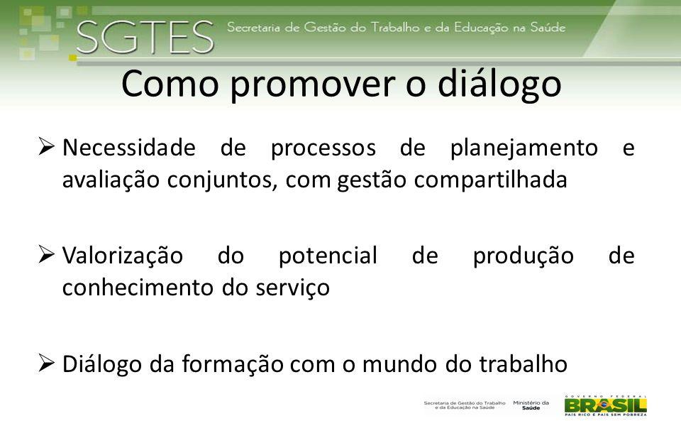 Como promover o diálogo  Necessidade de processos de planejamento e avaliação conjuntos, com gestão compartilhada  Valorização do potencial de produ