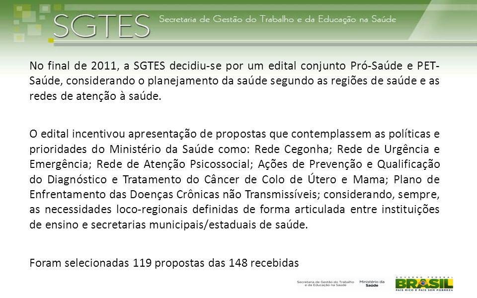 No final de 2011, a SGTES decidiu-se por um edital conjunto Pró-Saúde e PET- Saúde, considerando o planejamento da saúde segundo as regiões de saúde e