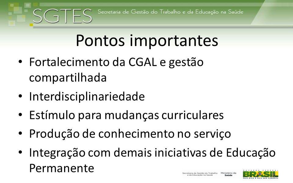 Pontos importantes Fortalecimento da CGAL e gestão compartilhada Interdisciplinariedade Estímulo para mudanças curriculares Produção de conhecimento n