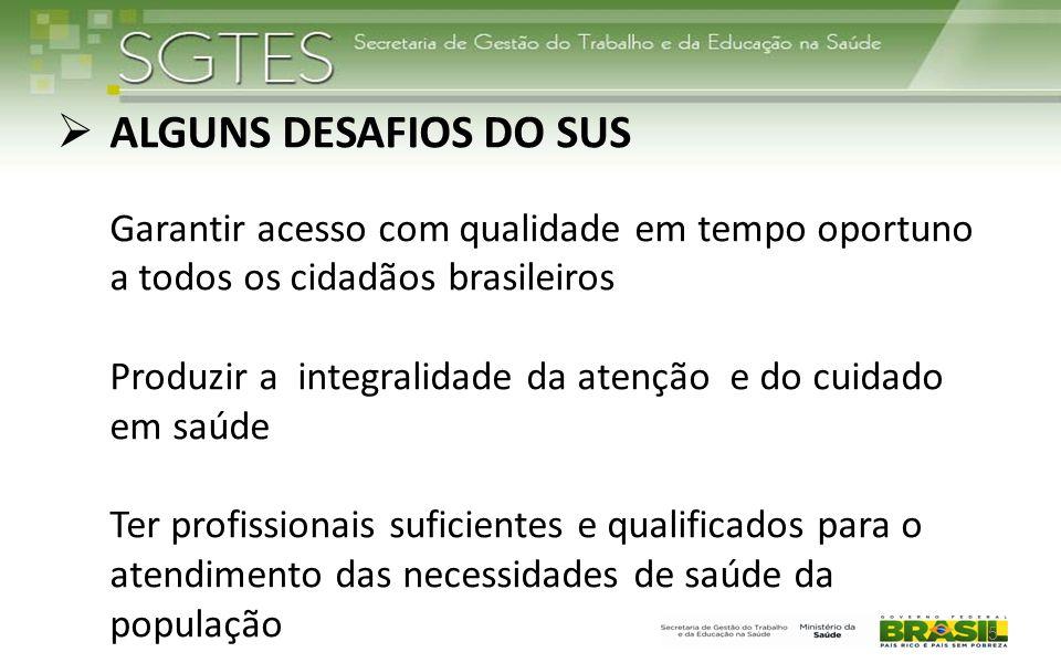  ALGUNS DESAFIOS DO SUS Garantir acesso com qualidade em tempo oportuno a todos os cidadãos brasileiros Produzir a integralidade da atenção e do cuid