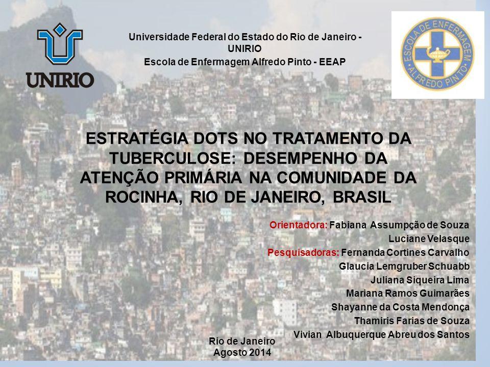 ESF E A CONSTRUÇÃO DO VÍNCULO NO CONTROLE DA TB PULMONAR NA ROCINHA- RJ ESF E A CONSTRUÇÃO DO VÍNCULO NO CONTROLE DA TB PULMONAR NA ROCINHA- RJ Thamiris Farias de Souza OBJETIVO Analisar o estabelecimento de vínculo dos profissionais de saúde da equipe da ESF da Rocinha/RJ com os usuários portadores de TB.
