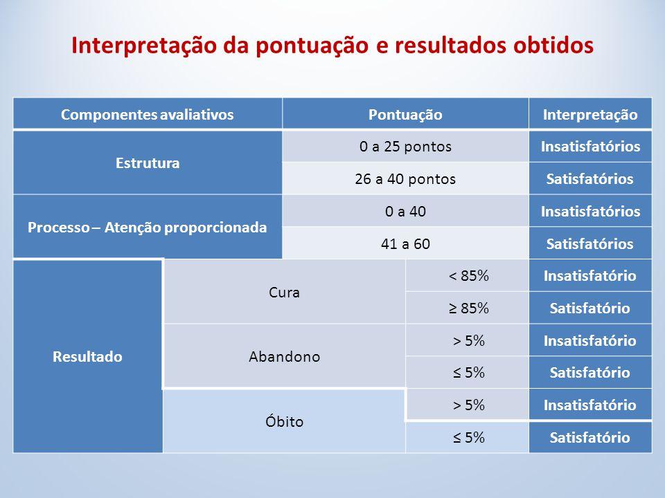Interpretação da pontuação e resultados obtidos Componentes avaliativosPontuaçãoInterpretação Estrutura 0 a 25 pontosInsatisfatórios 26 a 40 pontosSatisfatórios Processo – Atenção proporcionada 0 a 40Insatisfatórios 41 a 60Satisfatórios Resultado Cura < 85%Insatisfatório ≥ 85%Satisfatório Abandono > 5%Insatisfatório ≤ 5%Satisfatório Óbito > 5%Insatisfatório ≤ 5%Satisfatório