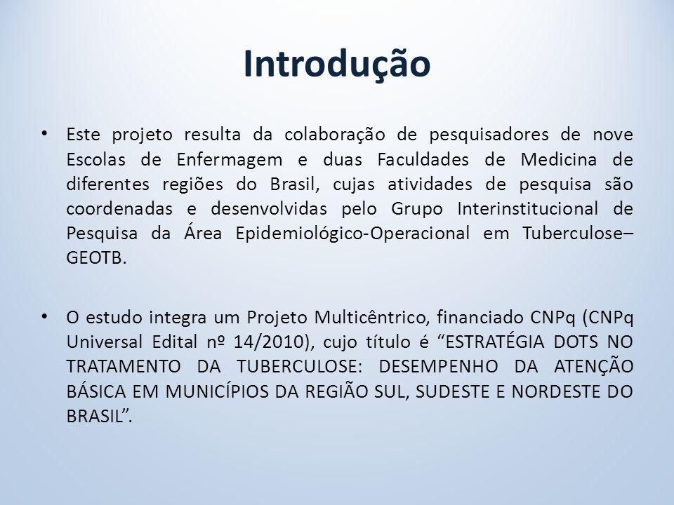 Introdução Este projeto resulta da colaboração de pesquisadores de nove Escolas de Enfermagem e duas Faculdades de Medicina de diferentes regiões do Brasil, cujas atividades de pesquisa são coordenadas e desenvolvidas pelo Grupo Interinstitucional de Pesquisa da Área Epidemiológico-Operacional em Tuberculose– GEOTB.