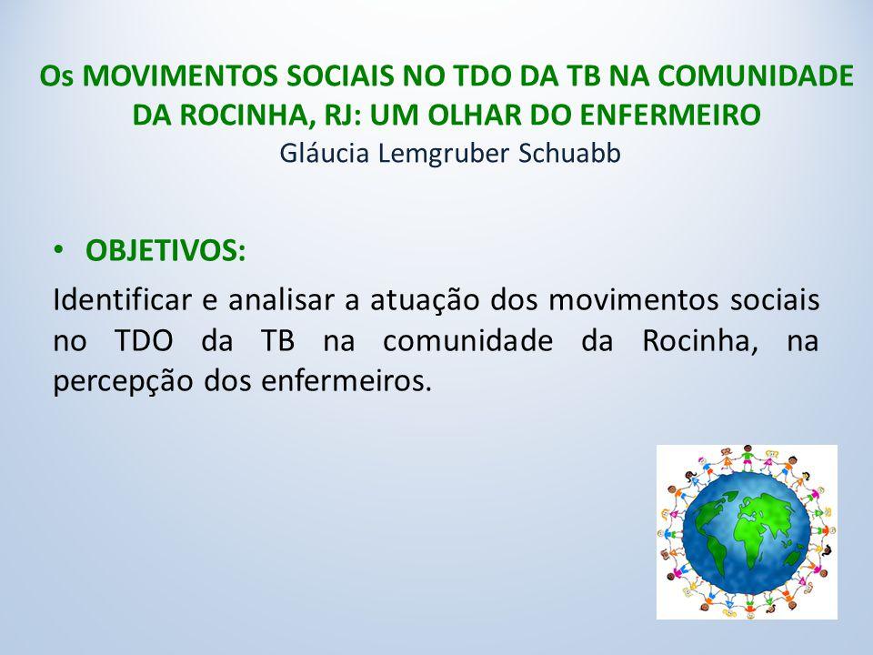 Os MOVIMENTOS SOCIAIS NO TDO DA TB NA COMUNIDADE DA ROCINHA, RJ: UM OLHAR DO ENFERMEIRO Gláucia Lemgruber Schuabb OBJETIVOS: Identificar e analisar a atuação dos movimentos sociais no TDO da TB na comunidade da Rocinha, na percepção dos enfermeiros.