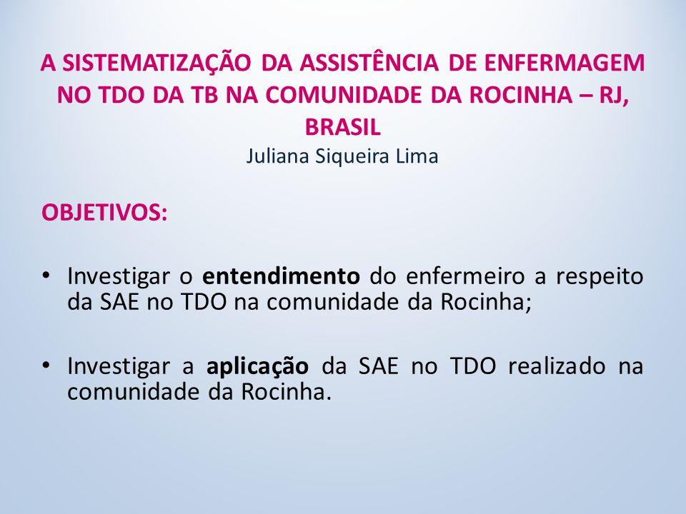 A SISTEMATIZAÇÃO DA ASSISTÊNCIA DE ENFERMAGEM NO TDO DA TB NA COMUNIDADE DA ROCINHA – RJ, BRASIL Juliana Siqueira Lima OBJETIVOS: Investigar o entendimento do enfermeiro a respeito da SAE no TDO na comunidade da Rocinha; Investigar a aplicação da SAE no TDO realizado na comunidade da Rocinha.
