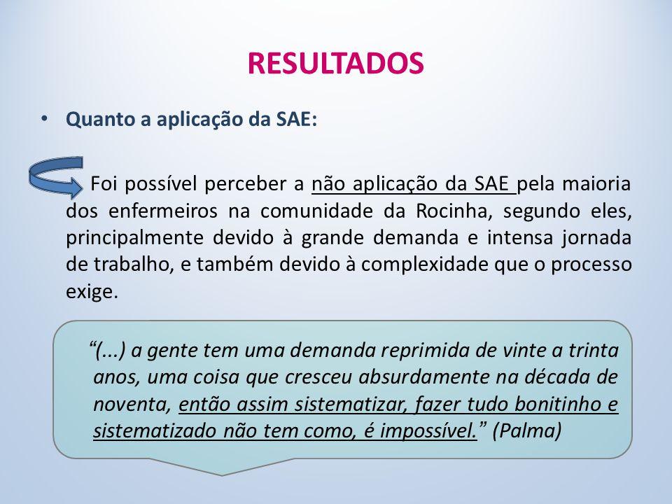 RESULTADOS Quanto a aplicação da SAE: Foi possível perceber a não aplicação da SAE pela maioria dos enfermeiros na comunidade da Rocinha, segundo eles, principalmente devido à grande demanda e intensa jornada de trabalho, e também devido à complexidade que o processo exige.