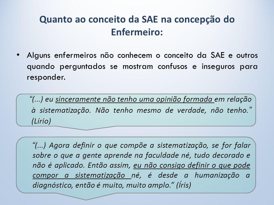 Quanto ao conceito da SAE na concepção do Enfermeiro: Alguns enfermeiros não conhecem o conceito da SAE e outros quando perguntados se mostram confusos e inseguros para responder.