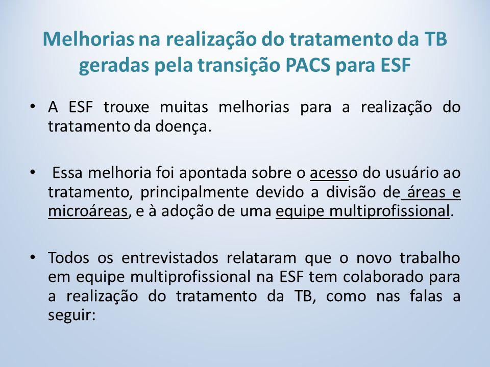 Melhorias na realização do tratamento da TB geradas pela transição PACS para ESF A ESF trouxe muitas melhorias para a realização do tratamento da doença.
