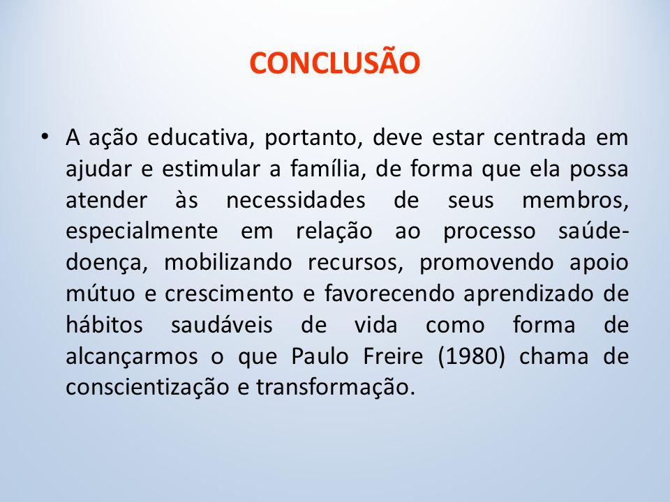 CONCLUSÃO A ação educativa, portanto, deve estar centrada em ajudar e estimular a família, de forma que ela possa atender às necessidades de seus membros, especialmente em relação ao processo saúde- doença, mobilizando recursos, promovendo apoio mútuo e crescimento e favorecendo aprendizado de hábitos saudáveis de vida como forma de alcançarmos o que Paulo Freire (1980) chama de conscientização e transformação.