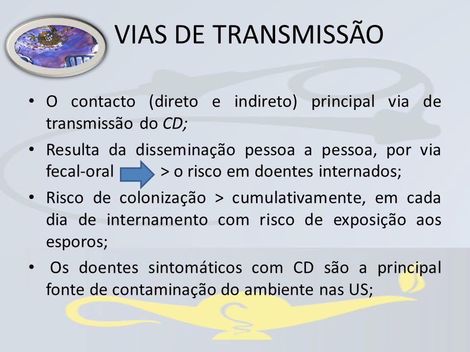 O contacto (direto e indireto) principal via de transmissão do CD; Resulta da disseminação pessoa a pessoa, por via fecal-oral > o risco em doentes in