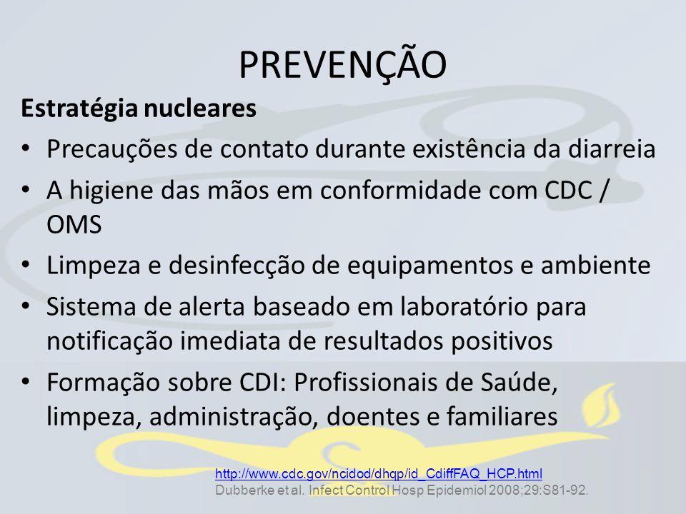PREVENÇÃO Estratégia nucleares Precauções de contato durante existência da diarreia A higiene das mãos em conformidade com CDC / OMS Limpeza e desinfe