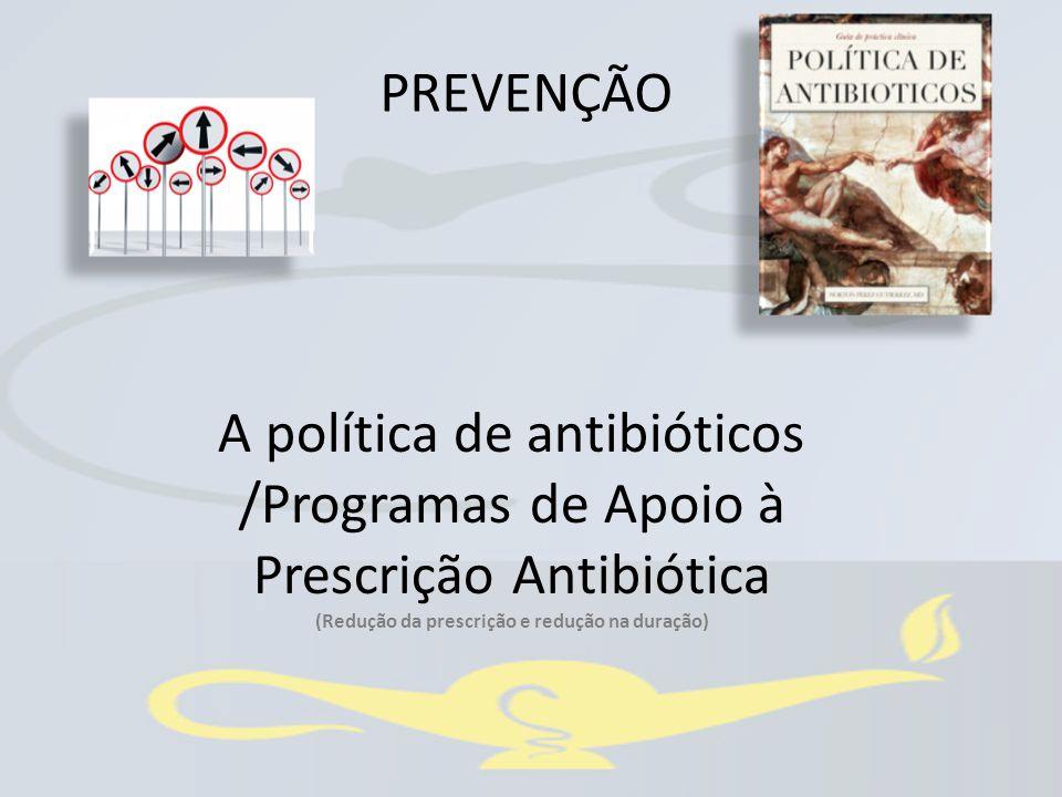 A política de antibióticos /Programas de Apoio à Prescrição Antibiótica (Redução da prescrição e redução na duração) PREVENÇÃO