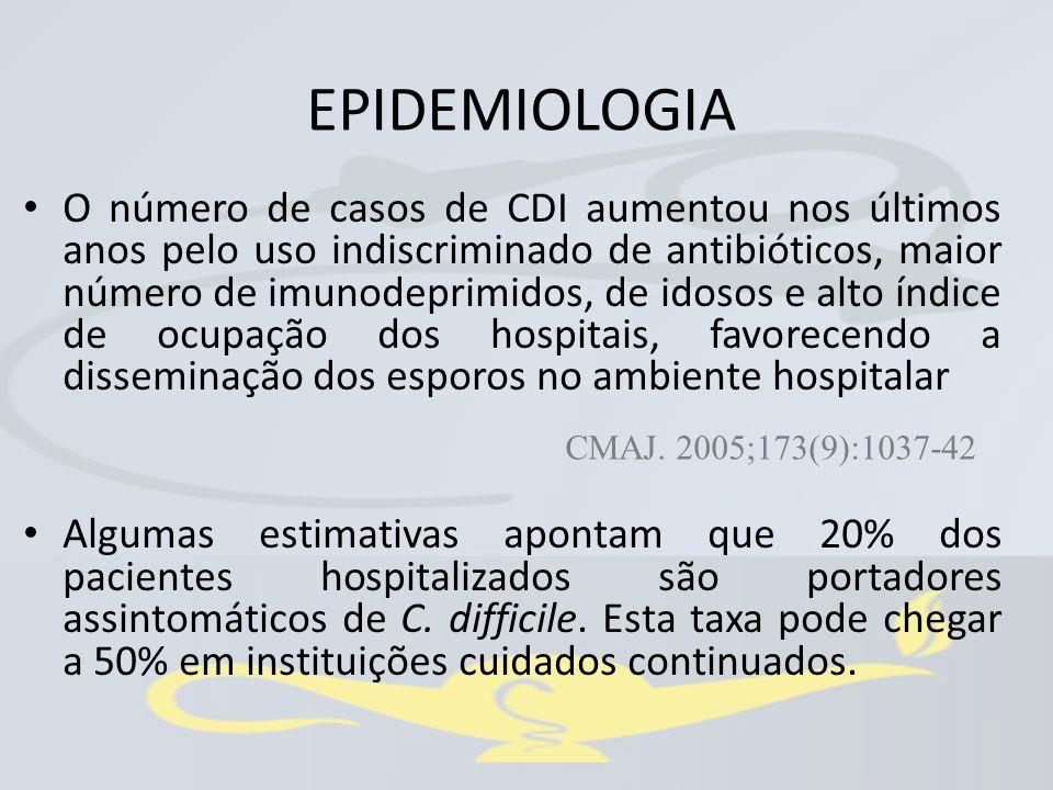 O número de casos de CDI aumentou nos últimos anos pelo uso indiscriminado de antibióticos, maior número de imunodeprimidos, de idosos e alto índice d