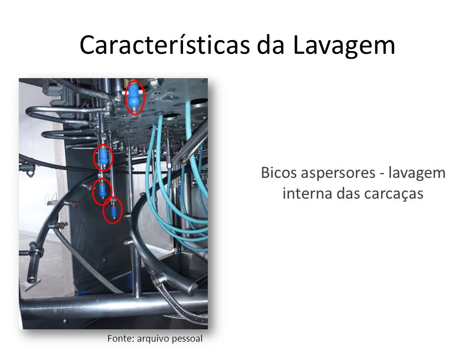 Características da Lavagem Bicos aspersores - lavagem interna das carcaças Fonte: arquivo pessoal