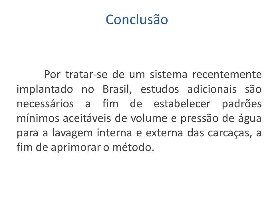 Conclusão Por tratar-se de um sistema recentemente implantado no Brasil, estudos adicionais são necessários a fim de estabelecer padrões mínimos aceit