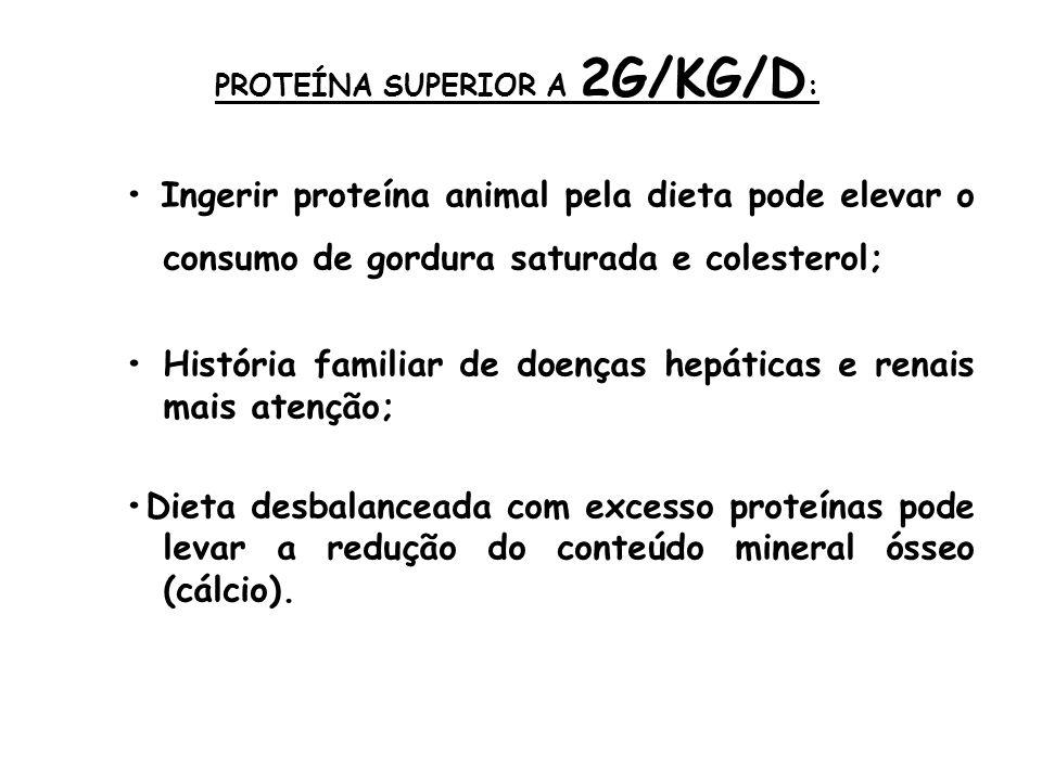 PROTEÍNA SUPERIOR A 2G/KG/D : Ingerir proteína animal pela dieta pode elevar o consumo de gordura saturada e colesterol; História familiar de doenças