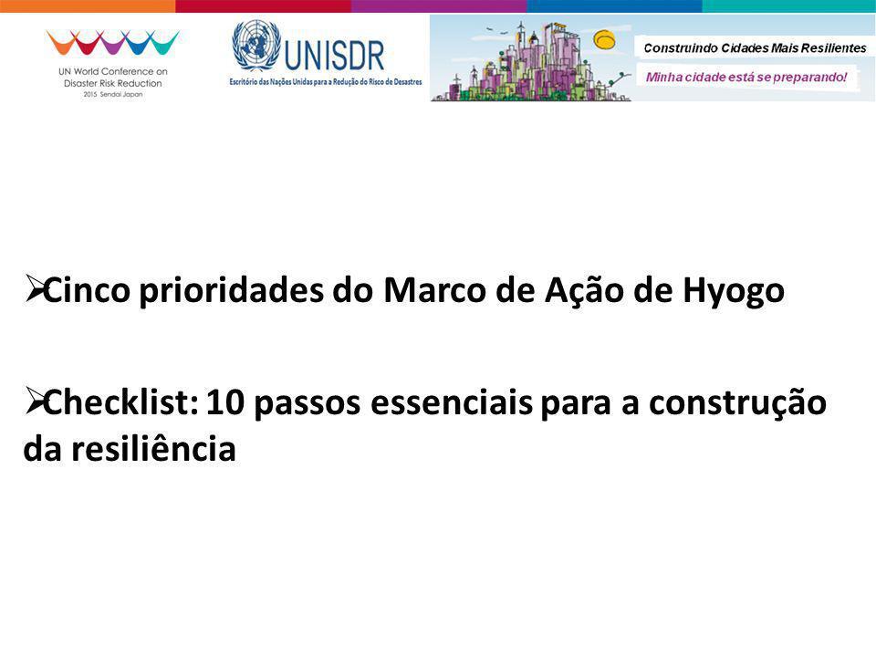  Cinco prioridades do Marco de Ação de Hyogo  Checklist: 10 passos essenciais para a construção da resiliência