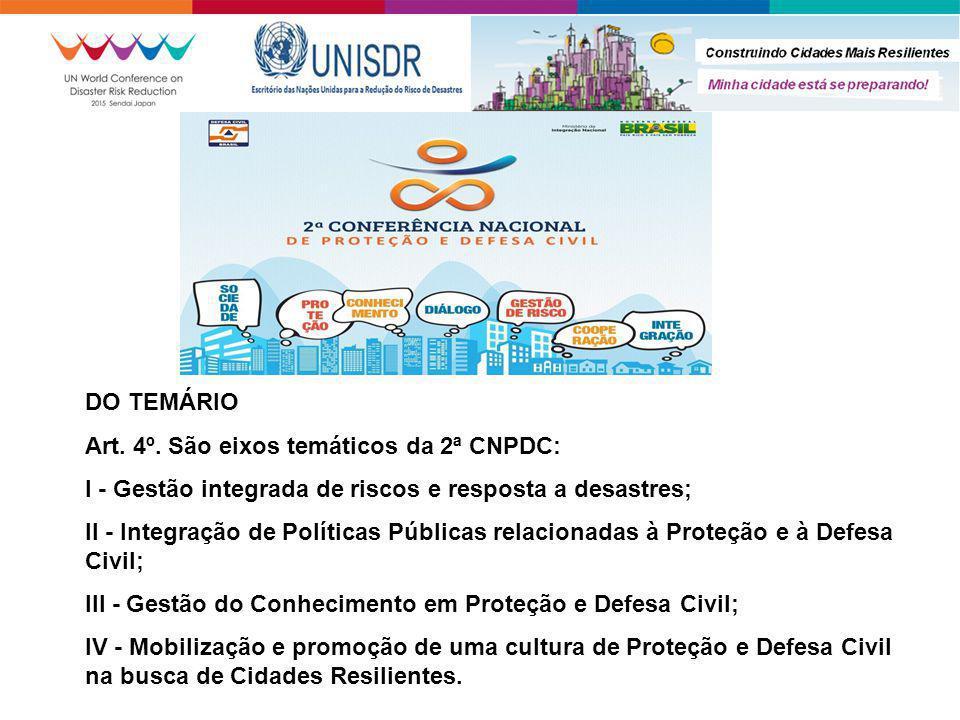 DO TEMÁRIO Art. 4º. São eixos temáticos da 2ª CNPDC: I - Gestão integrada de riscos e resposta a desastres; II - Integração de Políticas Públicas rela