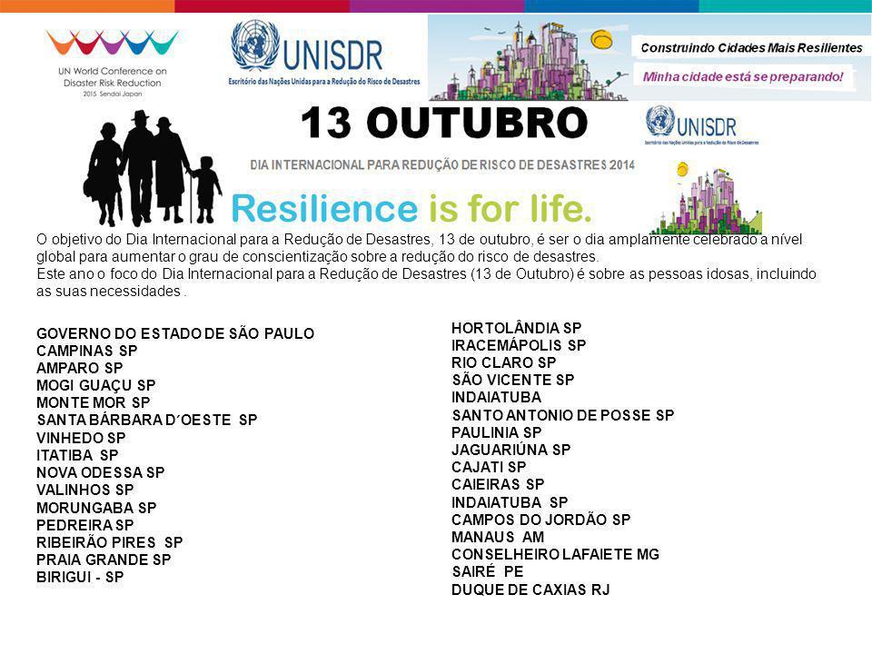 O objetivo do Dia Internacional para a Redução de Desastres, 13 de outubro, é ser o dia amplamente celebrado a nível global para aumentar o grau de co