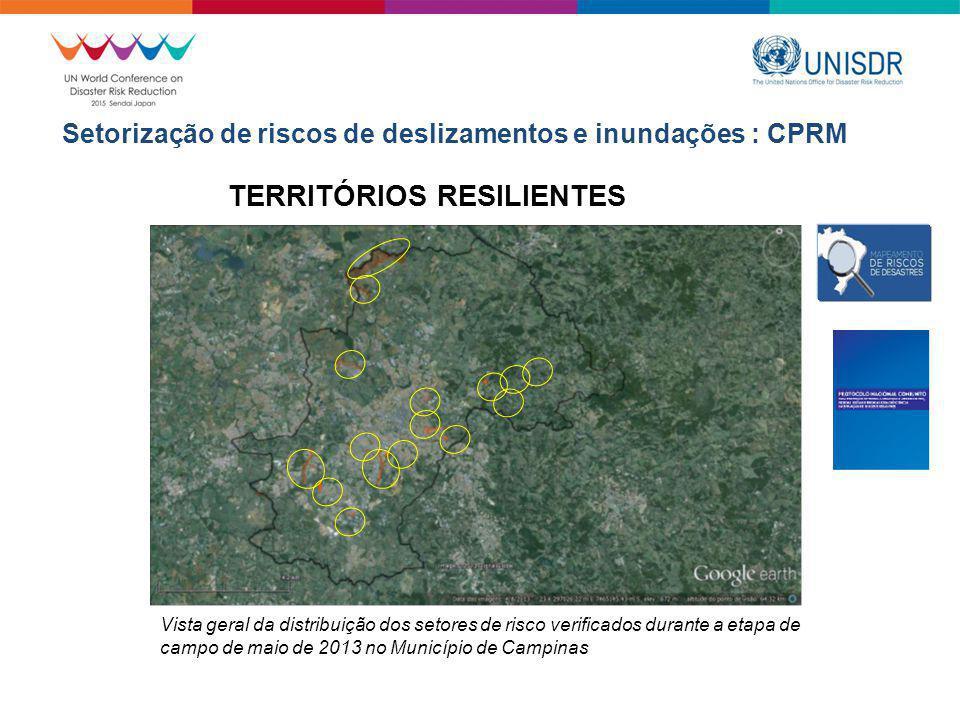 Vista geral da distribuição dos setores de risco verificados durante a etapa de campo de maio de 2013 no Município de Campinas TERRITÓRIOS RESILIENTES Setorização de riscos de deslizamentos e inundações : CPRM