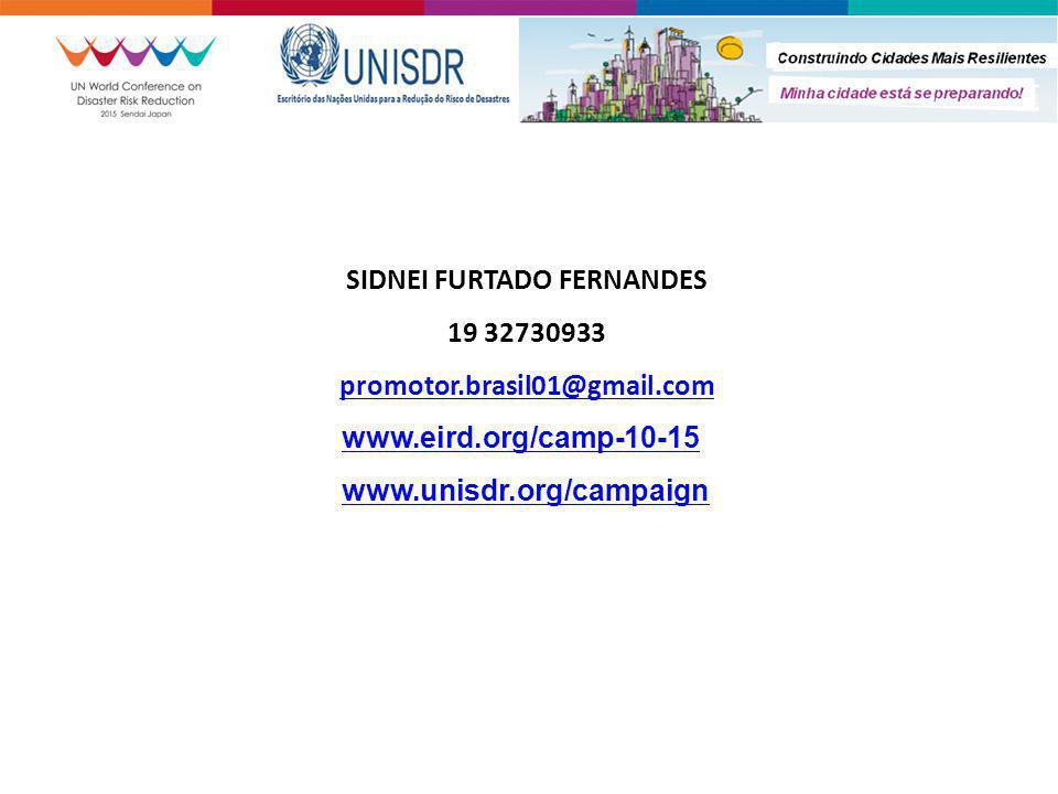 SIDNEI FURTADO FERNANDES 19 32730933 promotor.brasil01@gmail.com www.eird.org/camp-10-15 www.unisdr.org/campaign