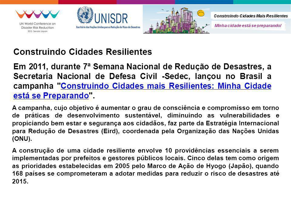Construindo Cidades Resilientes Em 2011, durante 7ª Semana Nacional de Redução de Desastres, a Secretaria Nacional de Defesa Civil -Sedec, lançou no B