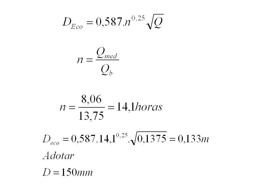 Perda de carga h f = 10,643 C - 1,85 D - 4,87 Q 1,85 L