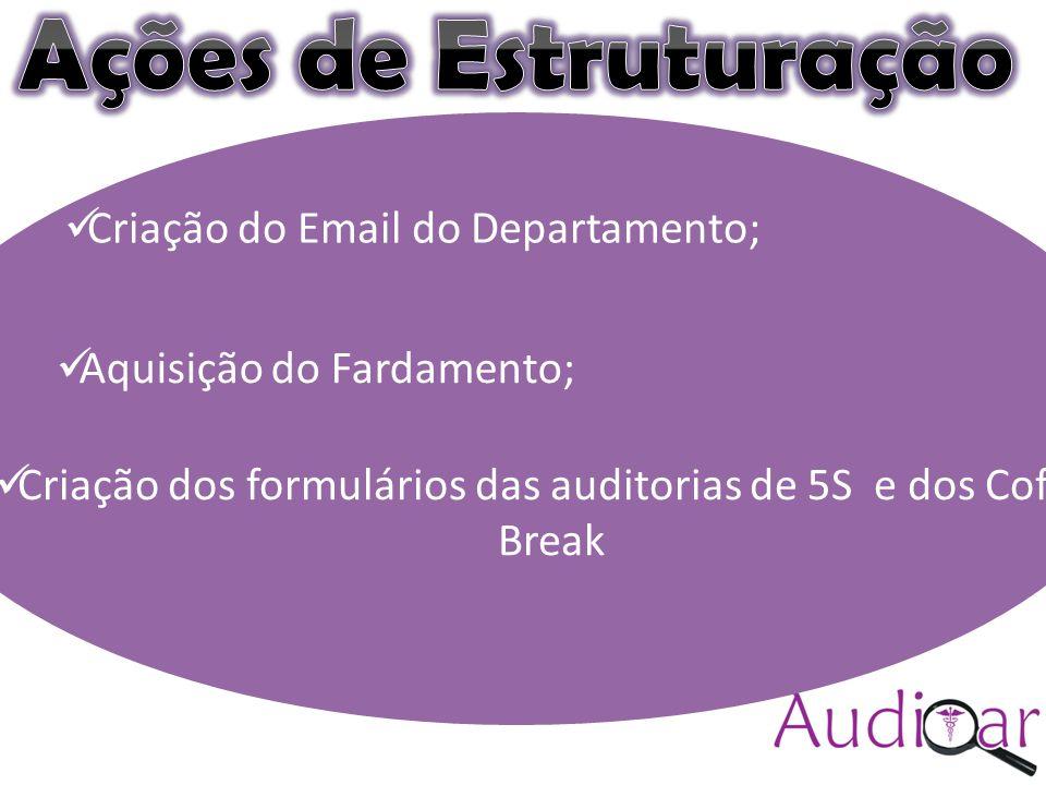 Auditar(colocar a logomarca) Compromisso com a excelência (sugestão) Criação do Email do Departamento; Aquisição do Fardamento; Criação dos formulários das auditorias de 5S e dos Coffee Break