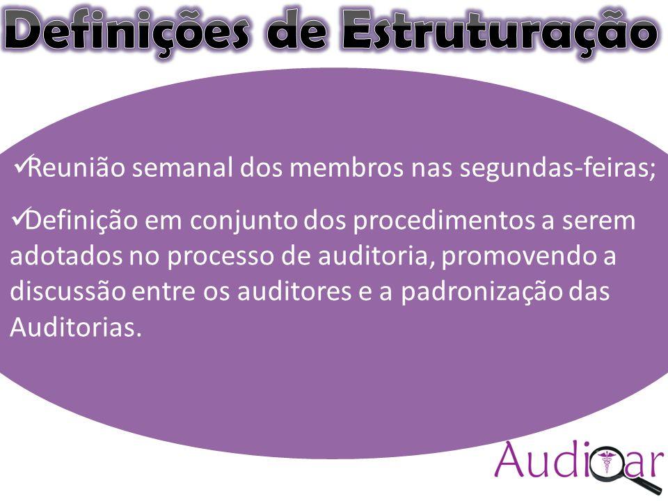 Auditar(colocar a logomarca) Compromisso com a excelência (sugestão) Reunião semanal dos membros nas segundas-feiras; Definição em conjunto dos procedimentos a serem adotados no processo de auditoria, promovendo a discussão entre os auditores e a padronização das Auditorias.