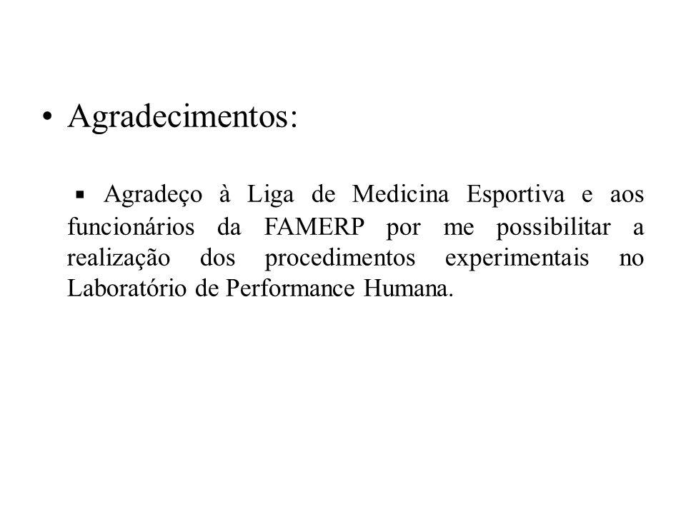 Agradecimentos: ▪ Agradeço à Liga de Medicina Esportiva e aos funcionários da FAMERP por me possibilitar a realização dos procedimentos experimentais no Laboratório de Performance Humana.