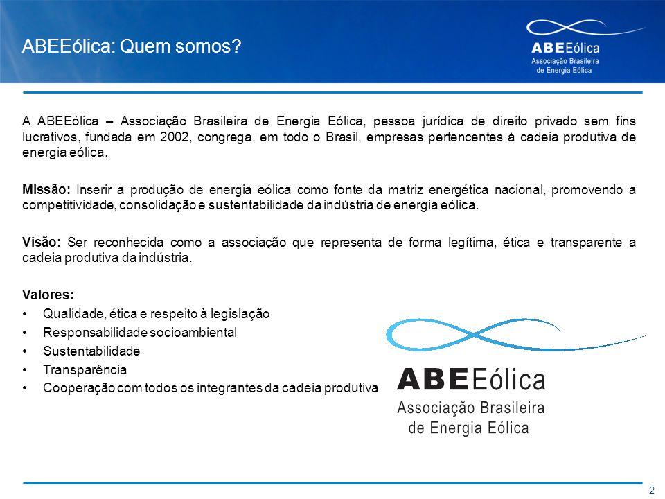 ABEEólica: Quem somos? A ABEEólica – Associação Brasileira de Energia Eólica, pessoa jurídica de direito privado sem fins lucrativos, fundada em 2002,