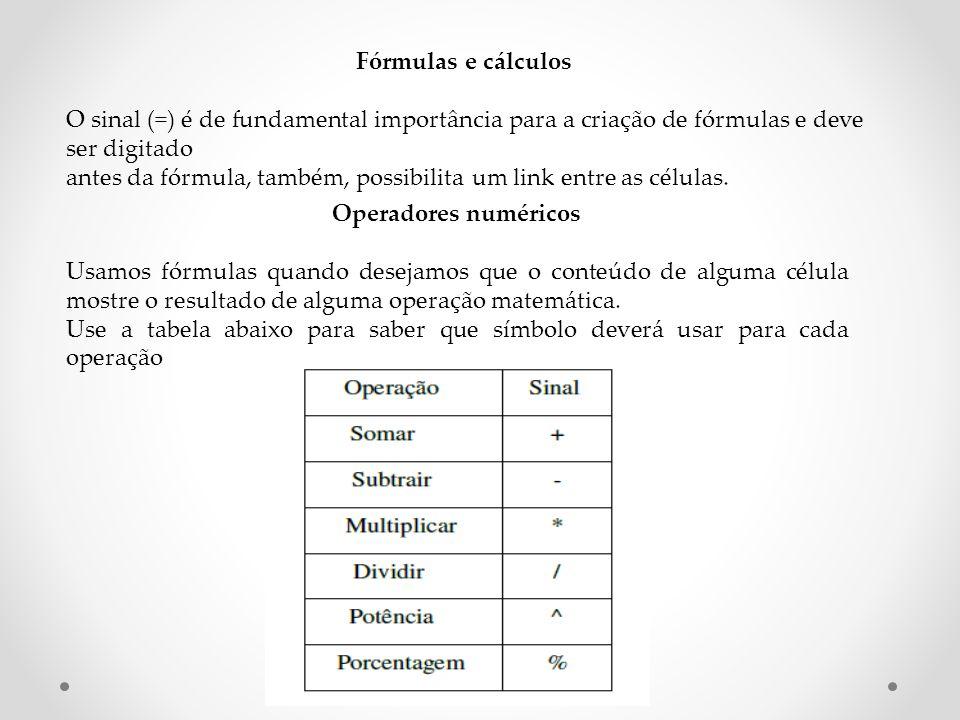 Fórmulas e cálculos O sinal (=) é de fundamental importância para a criação de fórmulas e deve ser digitado antes da fórmula, também, possibilita um link entre as células.