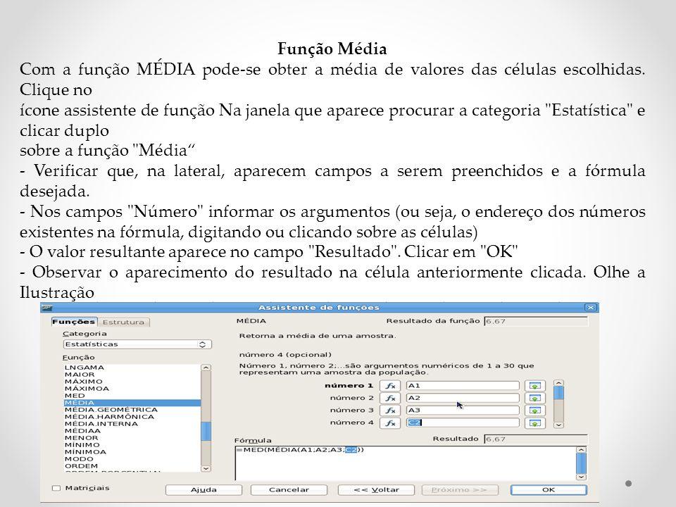 Função Média Com a função MÉDIA pode-se obter a média de valores das células escolhidas.