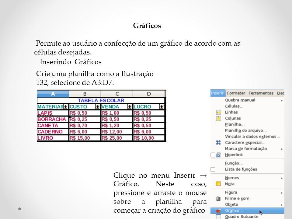 Gráficos Permite ao usuário a confecção de um gráfico de acordo com as células desejadas.