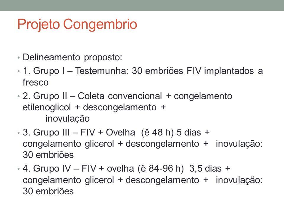Projeto Congembrio Delineamento proposto: 1.